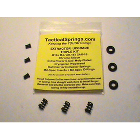 Extractor Upgrade Triple kit/AR-15/Mil-Spec/3 Extra Power 5-Coil Extractor Springs, 3 Extractor Inserts and 3 Viton O-Rings