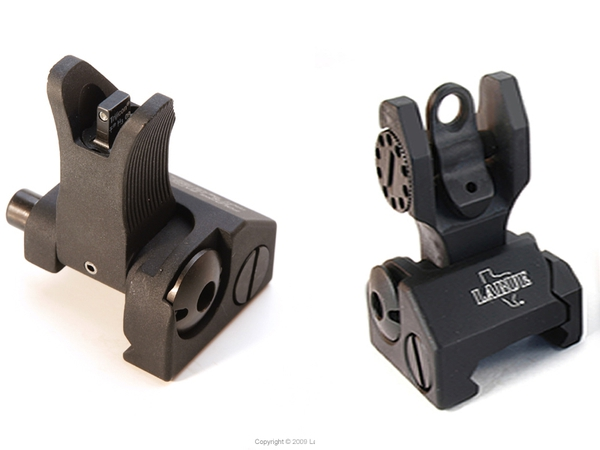 Combo Sight Set / Troy Front Tritium and plain Rear, BLACK