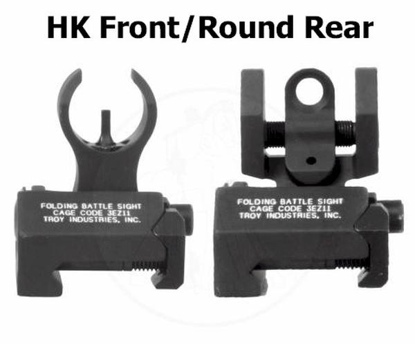 Sight Set / Troy MICRO Low Profile Folding Battle Sights Front & Rear - BLACK