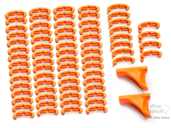LaRue Tactical HandStop and IndexClip Blaze Orange Combo, 74 Total Piece Set