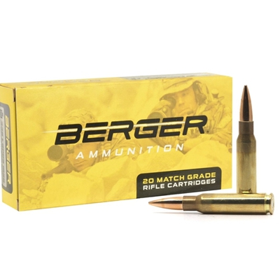 Image 1 of Berger Match Grade 308 Winchester Ammo 175 Grain Open Tip Match Tactical